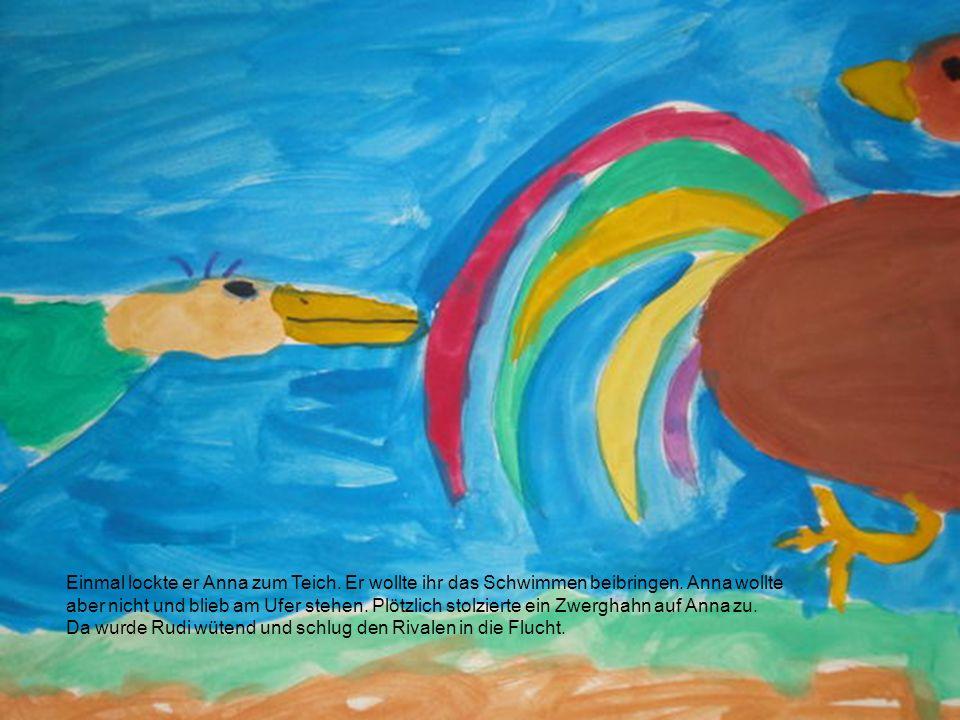 Einmal lockte er Anna zum Teich. Er wollte ihr das Schwimmen beibringen. Anna wollte aber nicht und blieb am Ufer stehen. Plötzlich stolzierte ein Zwe