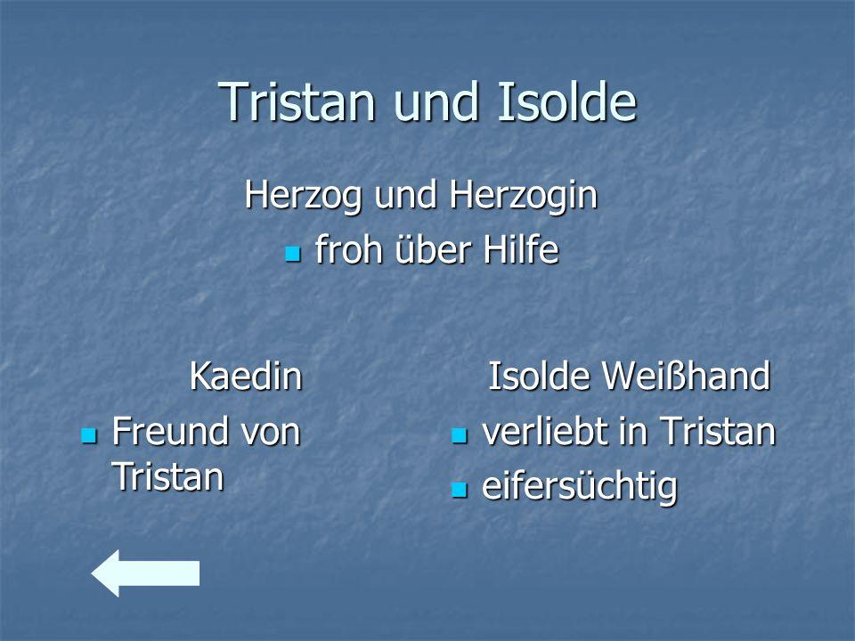 Tristan und Isolde Herzog und Herzogin froh über Hilfe froh über Hilfe Isolde Weißhand verliebt in Tristan verliebt in Tristan eifersüchtig eifersücht