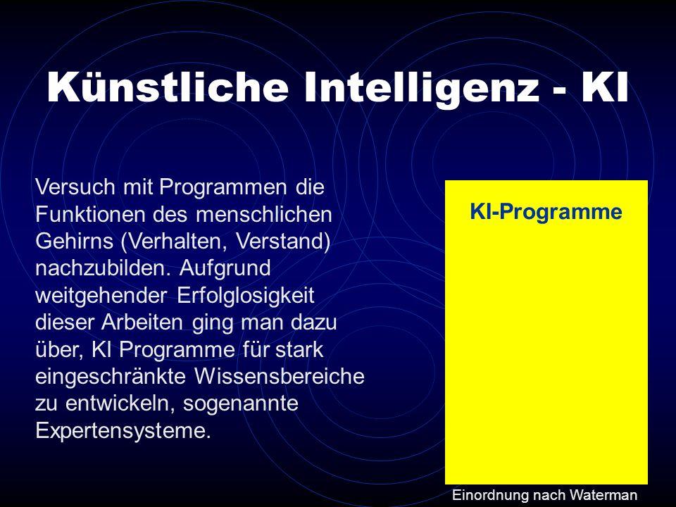 Versuch mit Programmen die Funktionen des menschlichen Gehirns (Verhalten, Verstand) nachzubilden. Aufgrund weitgehender Erfolglosigkeit dieser Arbeit
