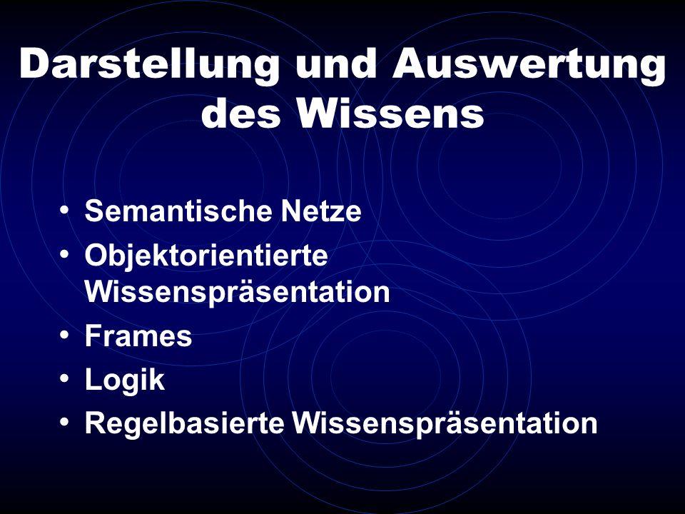 Darstellung und Auswertung des Wissens Semantische Netze Objektorientierte Wissenspräsentation Frames Logik Regelbasierte Wissenspräsentation