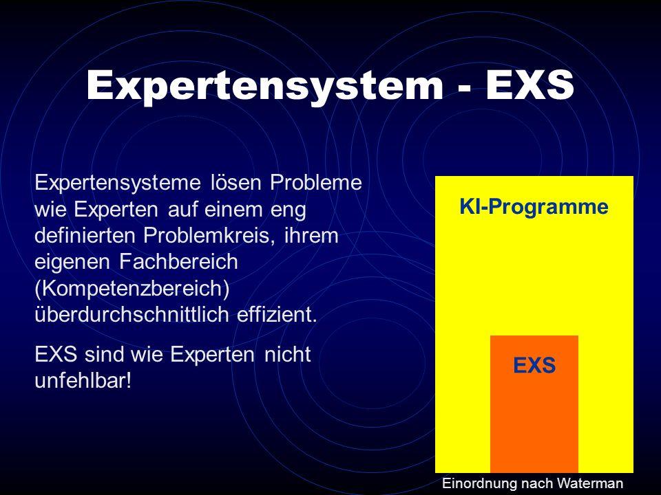 KI-Programme Expertensysteme lösen Probleme wie Experten auf einem eng definierten Problemkreis, ihrem eigenen Fachbereich (Kompetenzbereich) überdurc