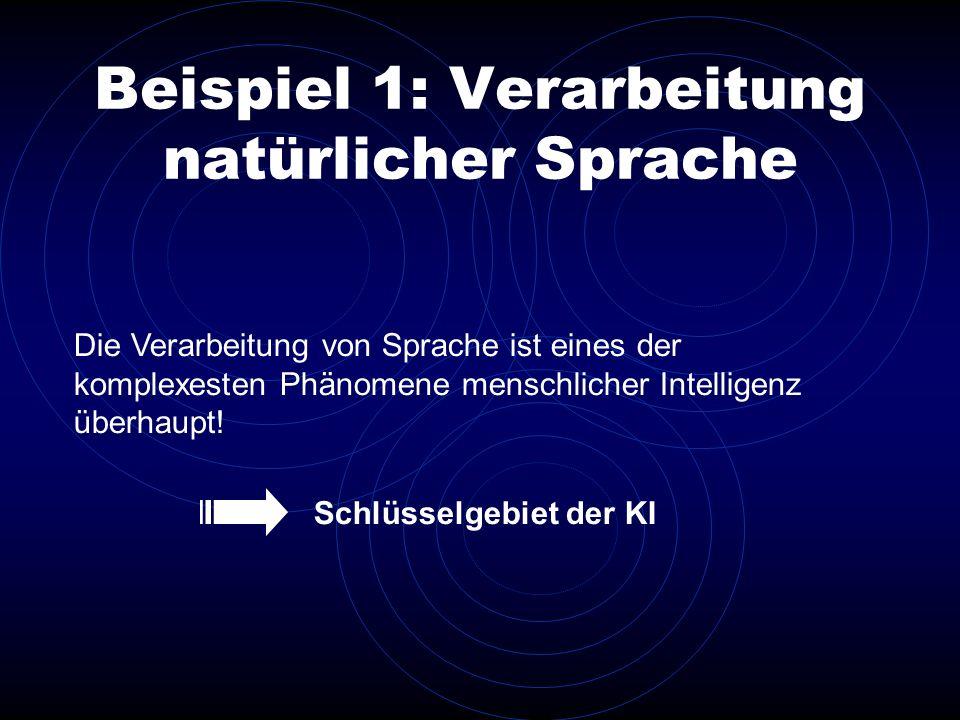 Beispiel 1: Verarbeitung natürlicher Sprache Die Verarbeitung von Sprache ist eines der komplexesten Phänomene menschlicher Intelligenz überhaupt! Sch