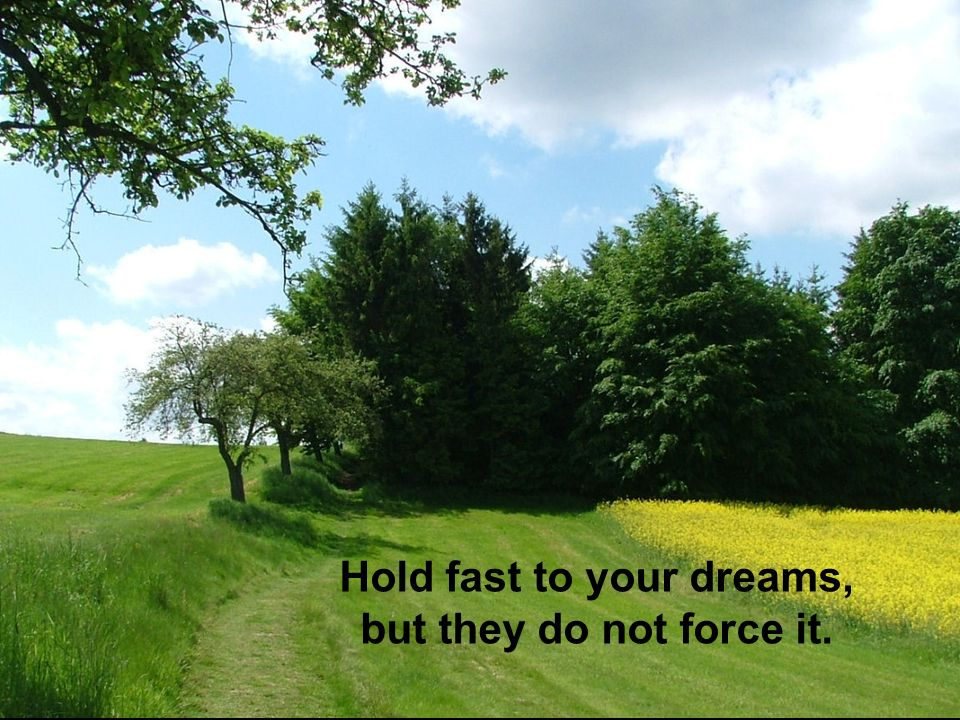 Hold fast to your dreams, but they do not force it.
