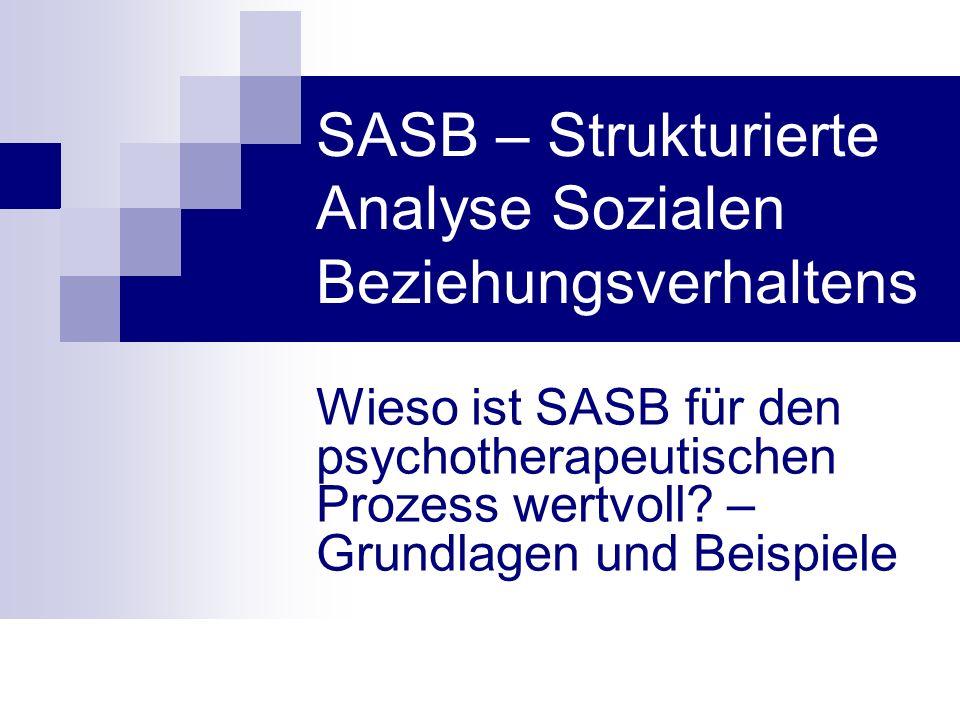 SASB – Strukturierte Analyse Sozialen Beziehungsverhaltens Wieso ist SASB für den psychotherapeutischen Prozess wertvoll? – Grundlagen und Beispiele