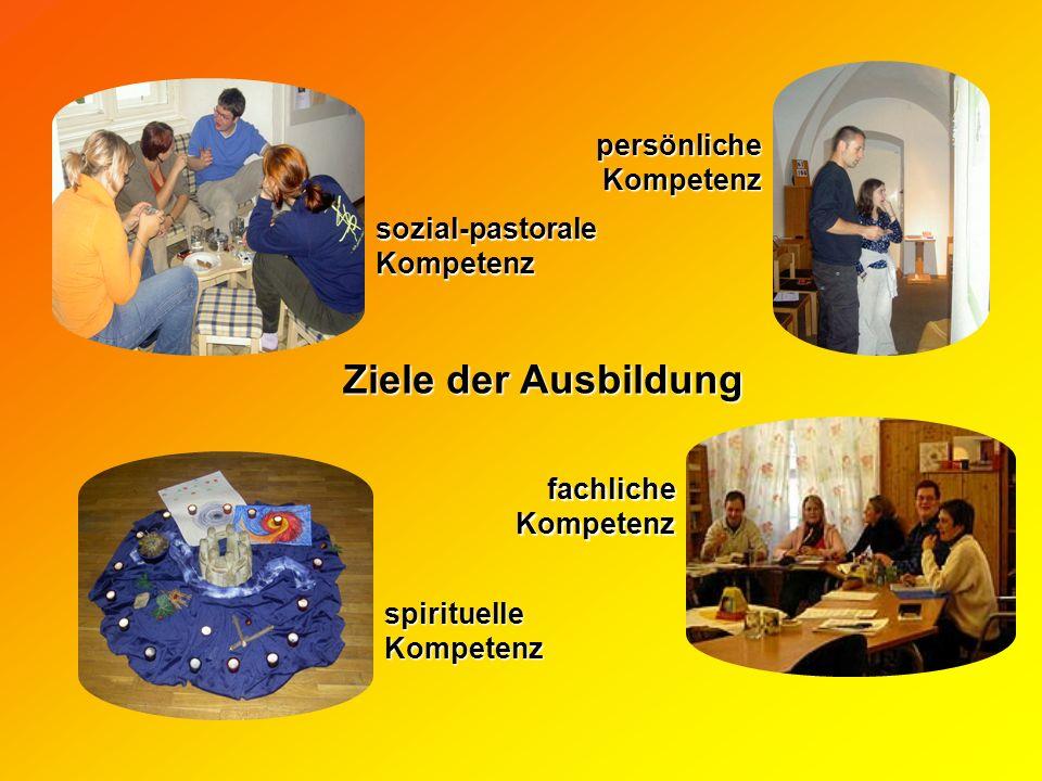 spirituelle Kompetenz sozial-pastoraleKompetenz fachlicheKompetenz persönliche Kompetenz Ziele der Ausbildung