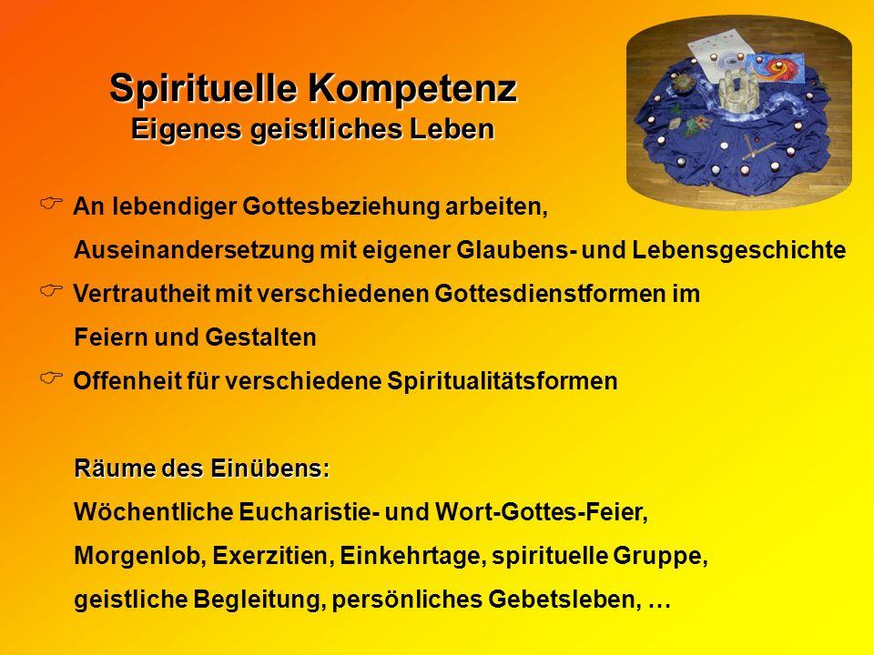 Spirituelle Kompetenz Eigenes geistliches Leben An lebendiger Gottesbeziehung arbeiten, Auseinandersetzung mit eigener Glaubens- und Lebensgeschichte