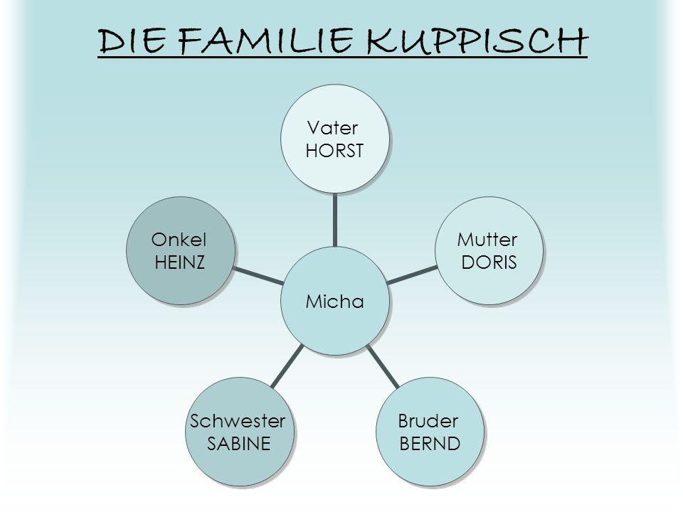 MICHA (Michael Kuppisch) Die Hauptfigur des Buchs; Allgemeine Beschreibung: er ist 16 Jahre alt und wohnt mit seiner Familie am kürzeren Ende der Sonn