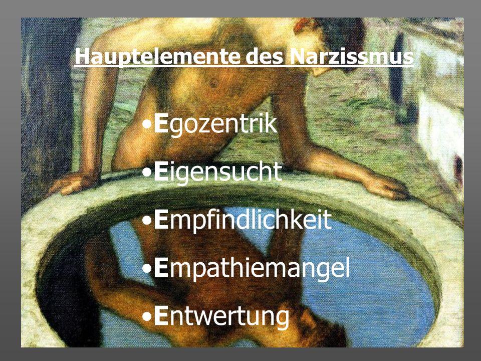 Hauptelemente des Narzissmus Egozentrik Eigensucht Empfindlichkeit Empathiemangel Entwertung