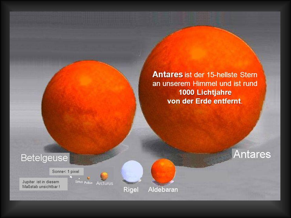 Mittlere Fixsterne In diesem Maßstab hat der Jupiter die Größe von 1 Pixel und die Erde ist nun überhaupt nicht mehr sichtbar! Sonne