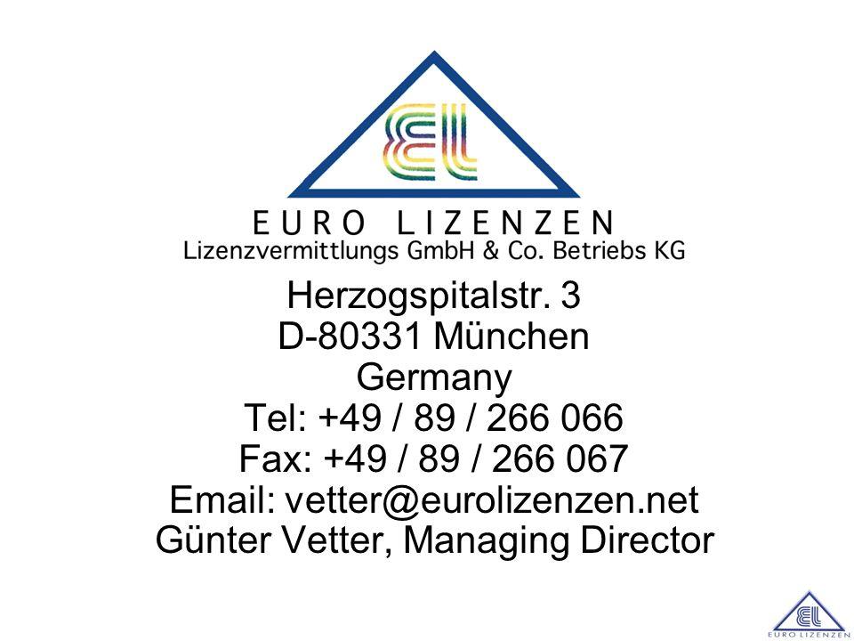 Alle Lizenzen durch: Herzogspitalstr. 3 D-80331 München Germany Tel: +49 / 89 / 266 066 Fax: +49 / 89 / 266 067 Email: vetter@eurolizenzen.net Günter