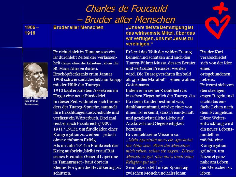Charles de Foucauld – Bruder aller Menschen. 1906 – 1916 Bruder aller MenschenUnsere tiefste Demütigung ist das wirksamste Mittel, über das wir verfüg