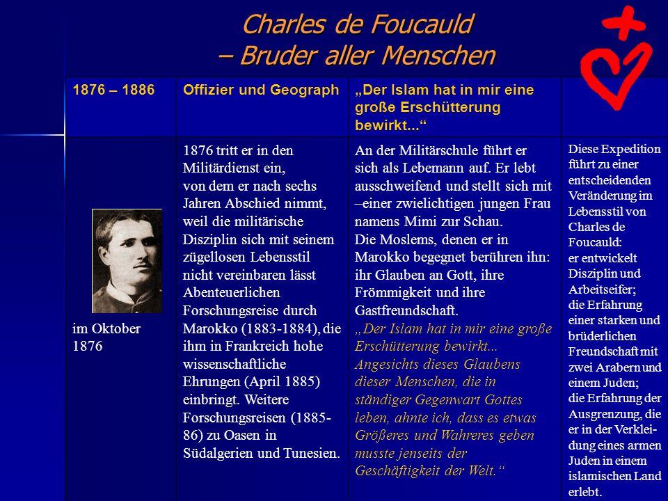 Charles de Foucauld – Bruder aller Menschen 1876 – 1886Offizier und GeographDer Islam hat in mir eine große Erschütterung bewirkt... im Oktober 1876 1