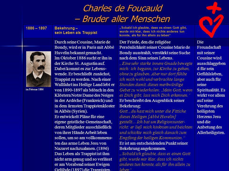 Charles de Foucauld – Bruder aller Menschen 1886 – 1897Bekehrung – sein Leben als Trappist Sobald ich glaubte, dass es einen Gott gibt, wurde mir klar