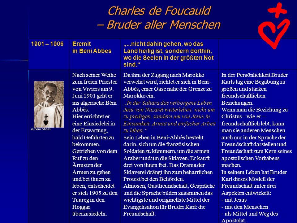 Charles de Foucauld – Bruder aller Menschen. 1901 – 1906Eremit in Beni Abbes...nicht dahin gehen, wo das Land heilig ist, sondern dorthin, wo die Seel