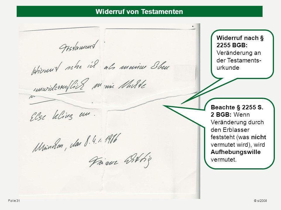 Widerruf von Testamenten München, den 2.4.2005 Liebe Helga, das Testament, mit dem ich Dich enterbt habe, hat Else aus reiner Bosheit zerschnitten und