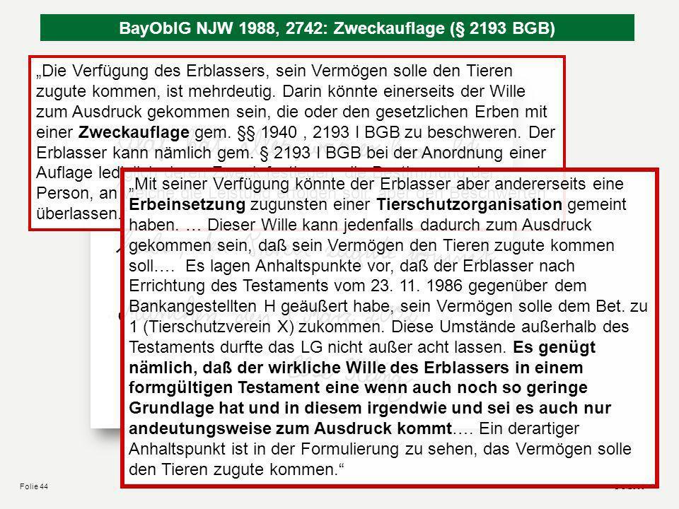 © sl2008Folie 43 Bedingt-befristete Nacherbeneinsetzung ohne Benennung des Vorerben Aufschiebend bedingte Nacherbeneinsetzung (§ 158 I BGB) Vorerbe ni