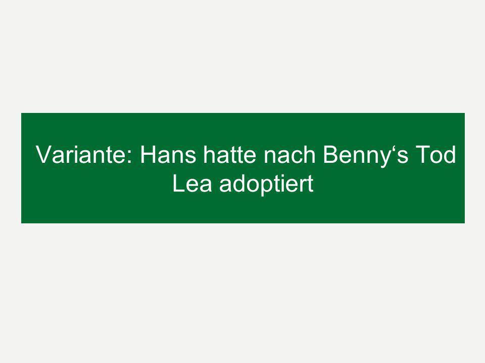 Onkel Franz Testament: Ersatzerbfolge vor Anwachsung (§ 2099 BGB) Benny ist vorverstorben; keine Ersatzerbfolge seiner Tochter Lea, da § 2069 BGB nur für Abkömmlinge gilt.