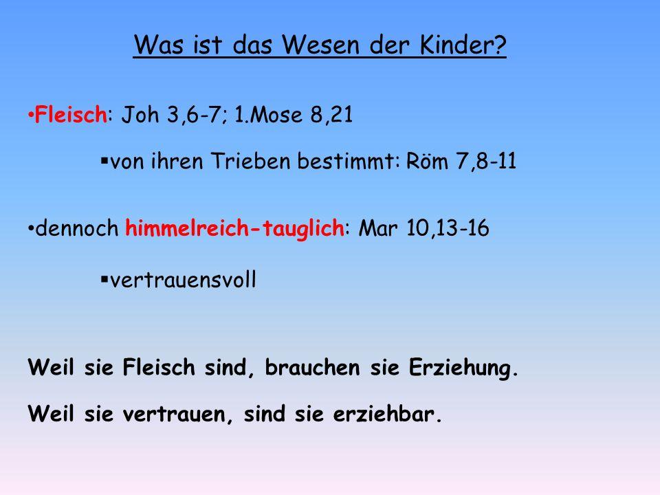 Was ist das Wesen der Kinder? Fleisch: Joh 3,6-7; 1.Mose 8,21 von ihren Trieben bestimmt: Röm 7,8-11 dennoch himmelreich-tauglich: Mar 10,13-16 vertra