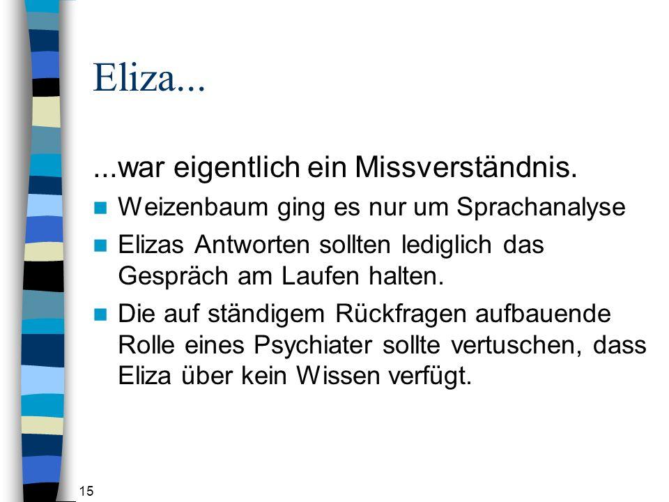15 Eliza......war eigentlich ein Missverständnis.
