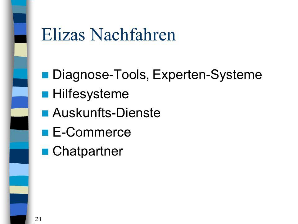 21 Elizas Nachfahren Diagnose-Tools, Experten-Systeme Hilfesysteme Auskunfts-Dienste E-Commerce Chatpartner