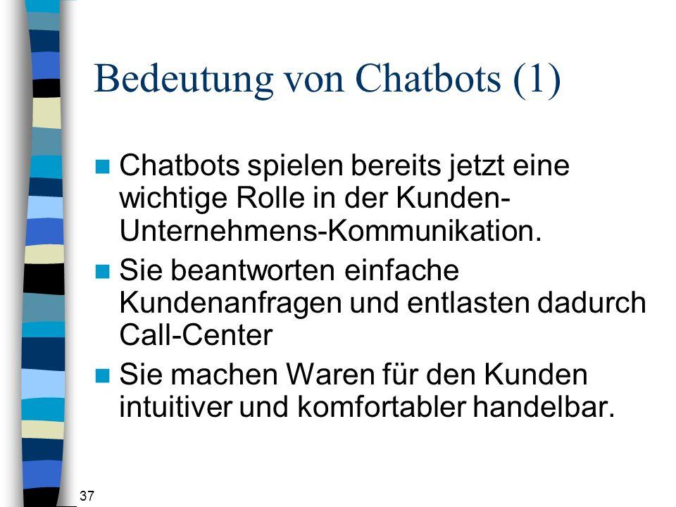 37 Bedeutung von Chatbots (1) Chatbots spielen bereits jetzt eine wichtige Rolle in der Kunden- Unternehmens-Kommunikation.