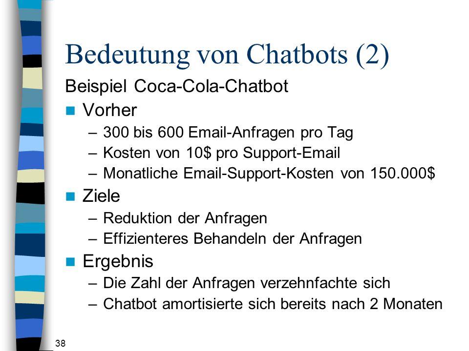 38 Bedeutung von Chatbots (2) Beispiel Coca-Cola-Chatbot Vorher –300 bis 600 Email-Anfragen pro Tag –Kosten von 10$ pro Support-Email –Monatliche Email-Support-Kosten von 150.000$ Ziele –Reduktion der Anfragen –Effizienteres Behandeln der Anfragen Ergebnis –Die Zahl der Anfragen verzehnfachte sich –Chatbot amortisierte sich bereits nach 2 Monaten