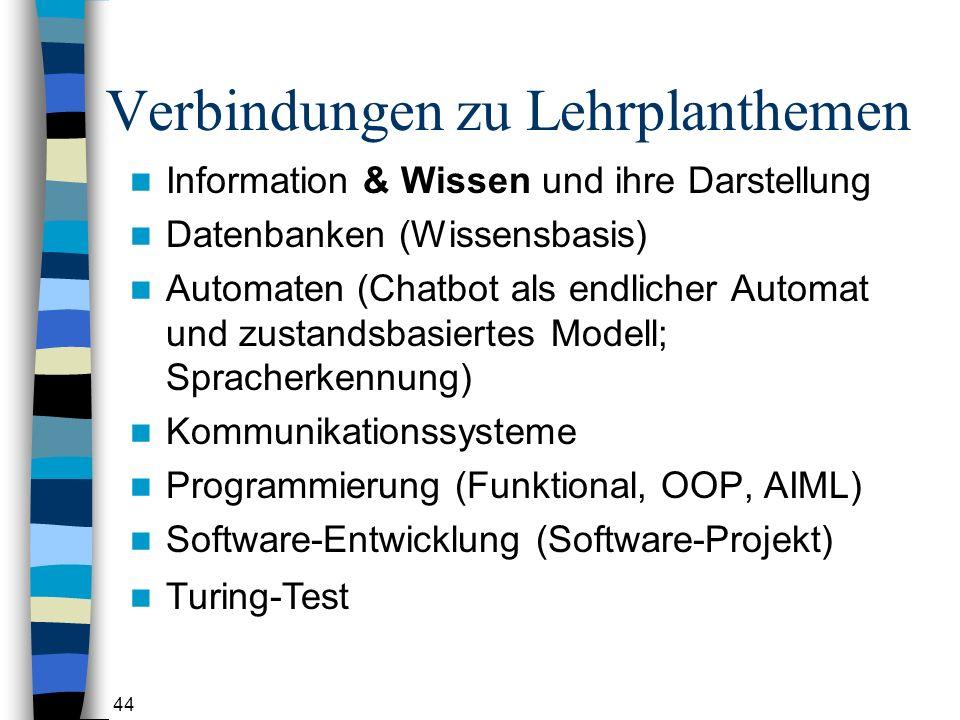 44 Verbindungen zu Lehrplanthemen Information & Wissen und ihre Darstellung Datenbanken (Wissensbasis) Automaten (Chatbot als endlicher Automat und zustandsbasiertes Modell; Spracherkennung) Kommunikationssysteme Programmierung (Funktional, OOP, AIML) Software-Entwicklung (Software-Projekt) Turing-Test