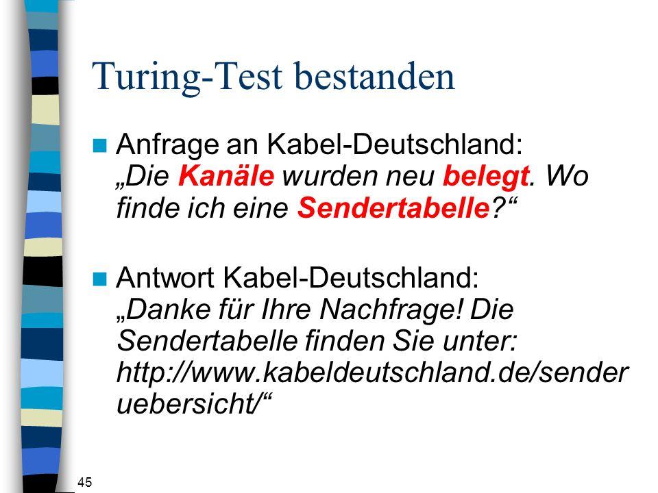 45 Turing-Test bestanden Anfrage an Kabel-Deutschland: Die Kanäle wurden neu belegt.