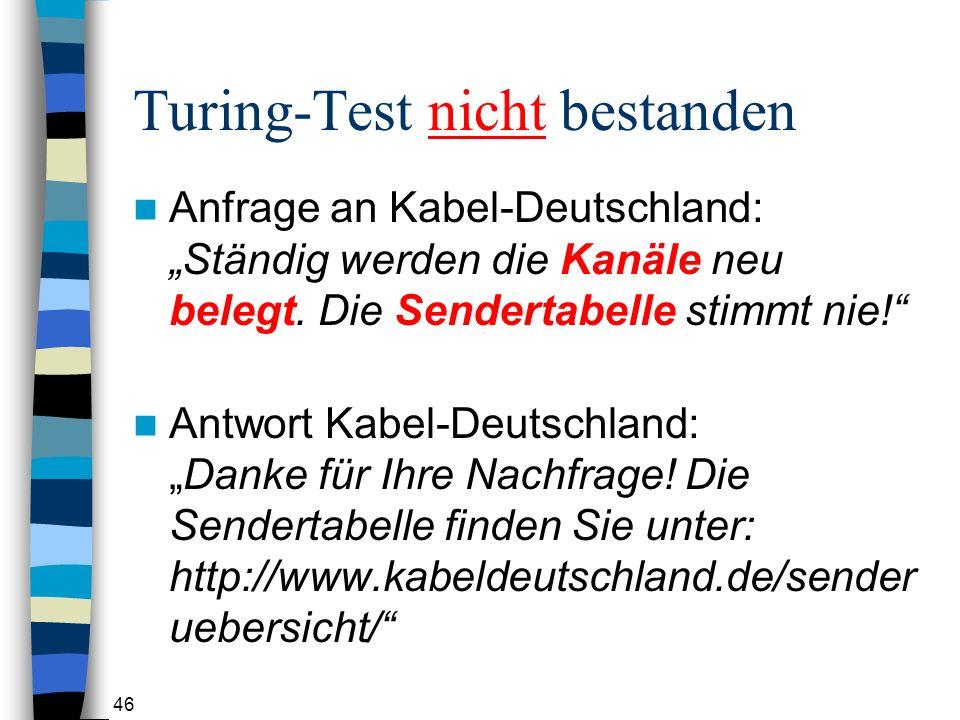 46 Turing-Test nicht bestanden Anfrage an Kabel-Deutschland: Ständig werden die Kanäle neu belegt.