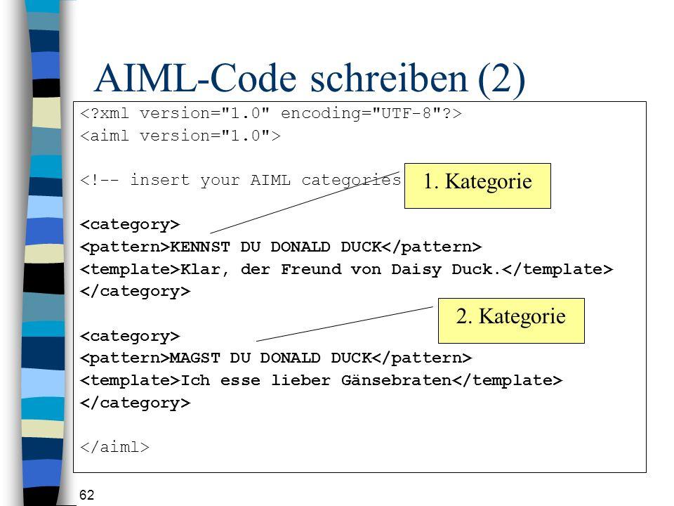 62 AIML-Code schreiben (2) KENNST DU DONALD DUCK Klar, der Freund von Daisy Duck.