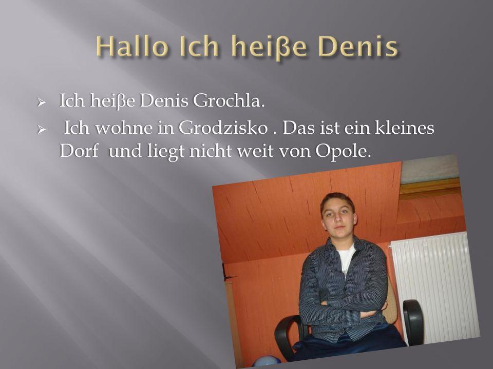 Ich hei β e Denis Grochla. Ich hei β e Denis Grochla. Ich wohne in Grodzisko. Das ist ein kleines Dorf und liegt nicht weit von Opole. Ich wohne in Gr