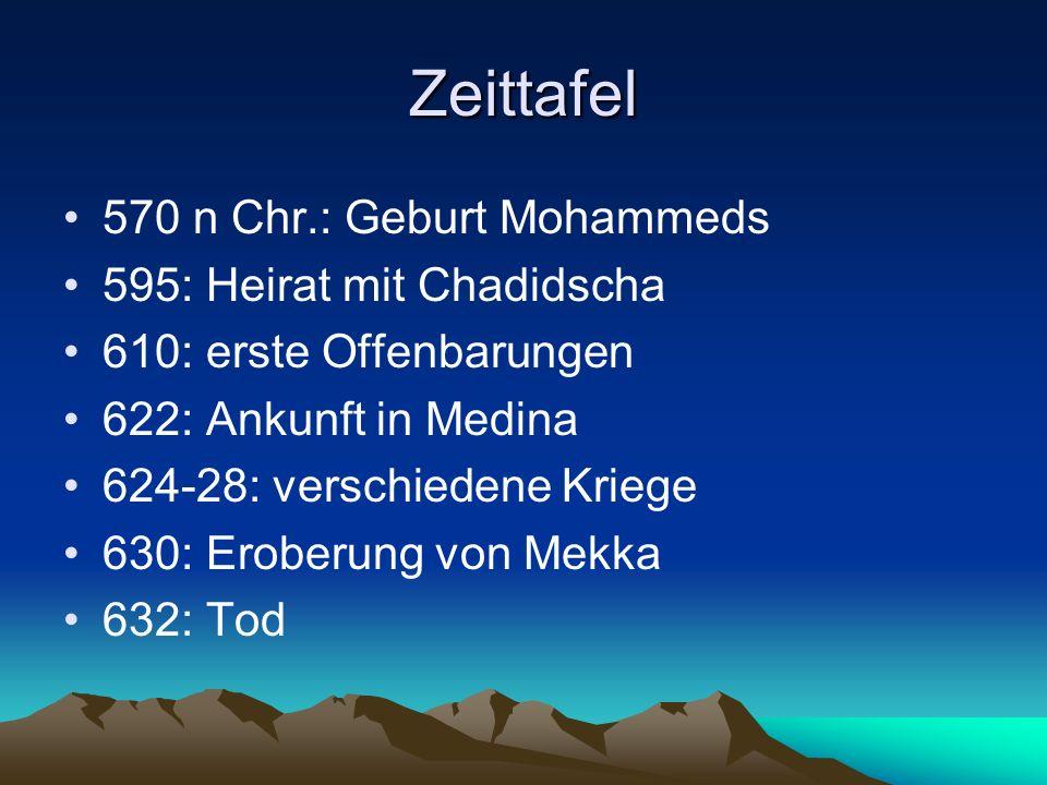 Zeittafel 570 n Chr.: Geburt Mohammeds 595: Heirat mit Chadidscha 610: erste Offenbarungen 622: Ankunft in Medina 624-28: verschiedene Kriege 630: Ero