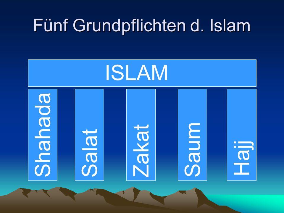 Fünf Grundpflichten d. Islam Shahada Salat ZakatSaum Hajj ISLAM