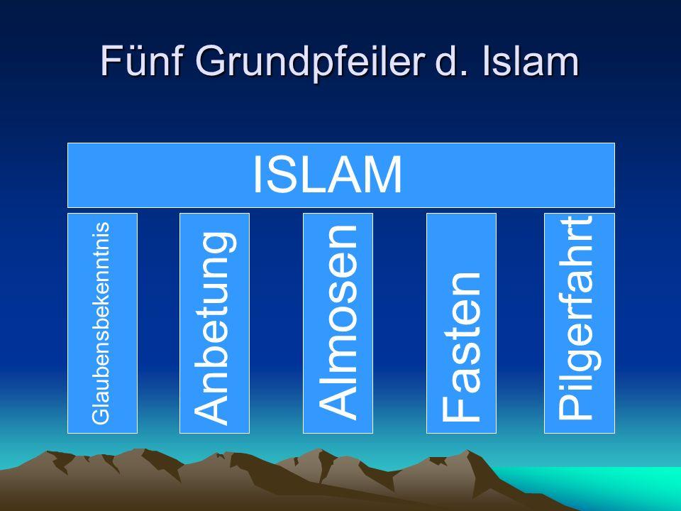 Fünf Grundpfeiler d. Islam Glaubensbekenntnis Anbetung Almosen Fasten Pilgerfahrt ISLAM