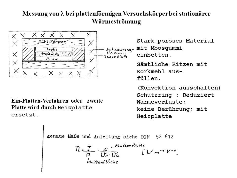 Messung von λ bei plattenförmigen Versuchskörper bei stationärer Wärmeströmung t Stark poröses Material mit Moosgummi einbetten.
