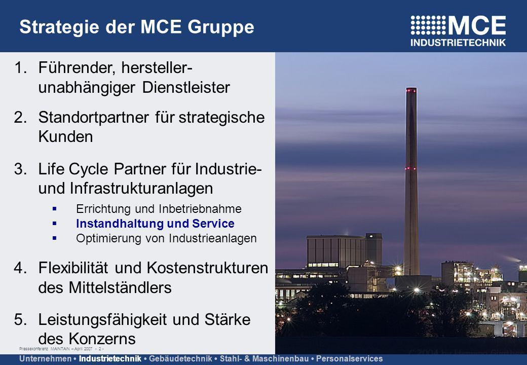 Pressekonferenz MAINTAIN – April 2007 - 2 - Unternehmen Industrietechnik Gebäudetechnik Stahl- & Maschinenbau Personalservices Strategie der MCE Grupp