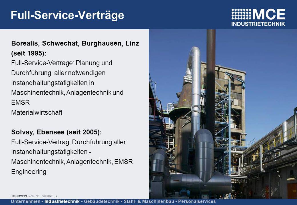 Pressekonferenz MAINTAIN – April 2007 - 8 - Unternehmen Industrietechnik Gebäudetechnik Stahl- & Maschinenbau Personalservices Borealis, Schwechat, Bu