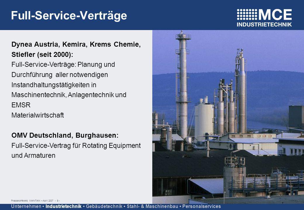 Pressekonferenz MAINTAIN – April 2007 - 9 - Unternehmen Industrietechnik Gebäudetechnik Stahl- & Maschinenbau Personalservices Dynea Austria, Kemira,
