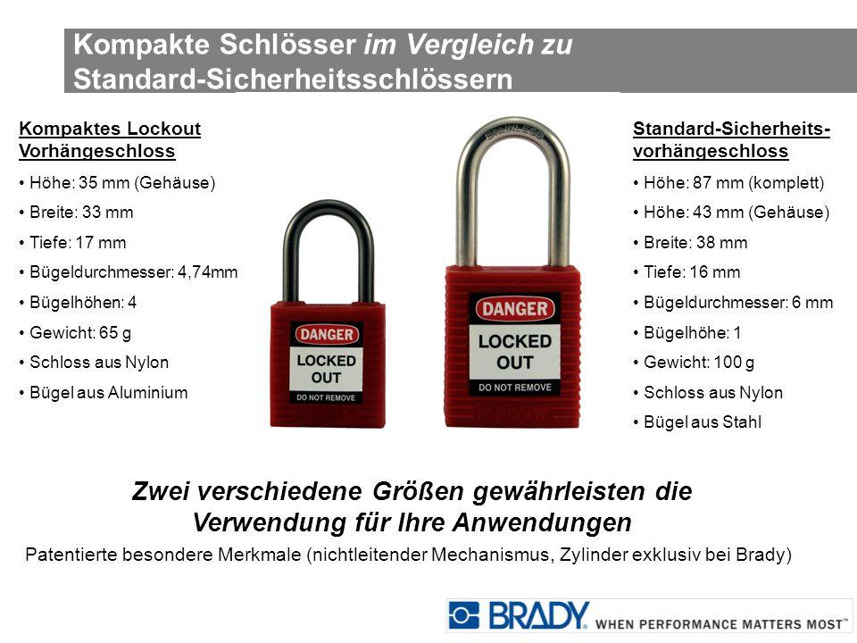 Kompakte Schlösser im Vergleich zu Standard-Sicherheitsschlössern Kompaktes Lockout Vorhängeschloss Höhe: 35 mm (Gehäuse) Breite: 33 mm Tiefe: 17 mm B