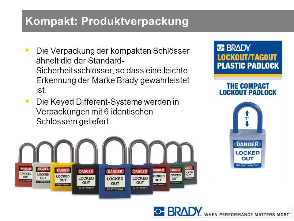 Kompakt: Produktverpackung Die Verpackung der kompakten Schlösser ähnelt die der Standard- Sicherheitsschlösser, so dass eine leichte Erkennung der Ma