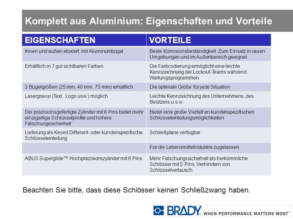 Komplett aus Aluminium: Eigenschaften und Vorteile Beachten Sie bitte, dass diese Schlösser keinen Schließzwang haben. EIGENSCHAFTENVORTEILE Innen und