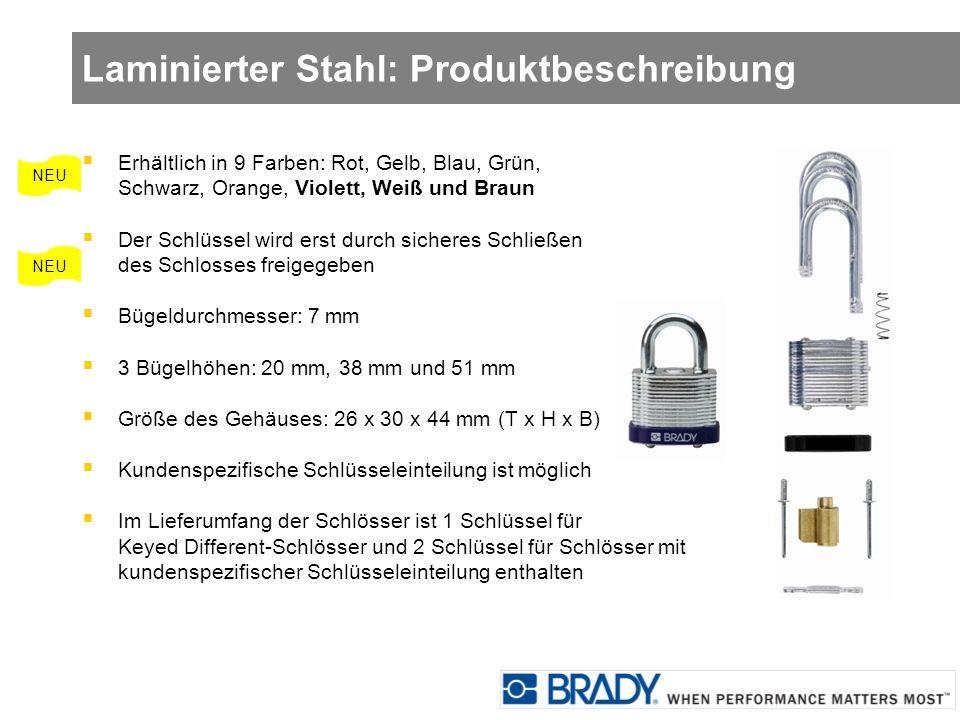Laminierter Stahl: Produktbeschreibung Erhältlich in 9 Farben: Rot, Gelb, Blau, Grün, Schwarz, Orange, Violett, Weiß und Braun Der Schlüssel wird erst