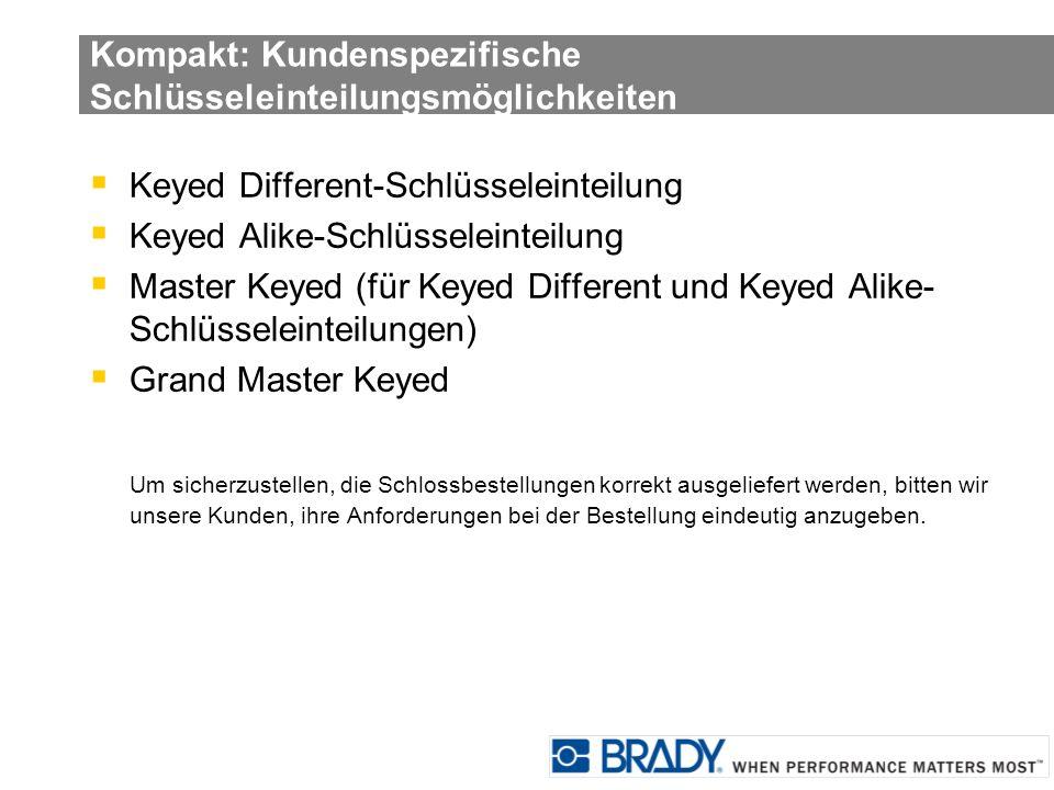 Kompakt: Kundenspezifische Schlüsseleinteilungsmöglichkeiten Keyed Different-Schlüsseleinteilung Keyed Alike-Schlüsseleinteilung Master Keyed (für Key