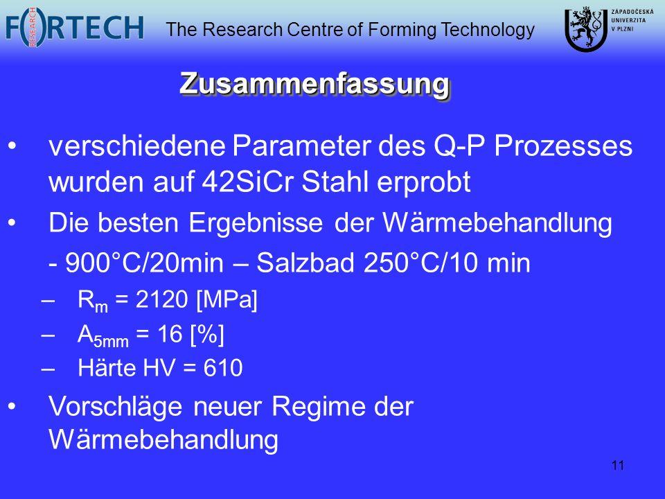 The Research Centre of Forming Technology 11 ZusammenfassungZusammenfassung verschiedene Parameter des Q-P Prozesses wurden auf 42SiCr Stahl erprobt D