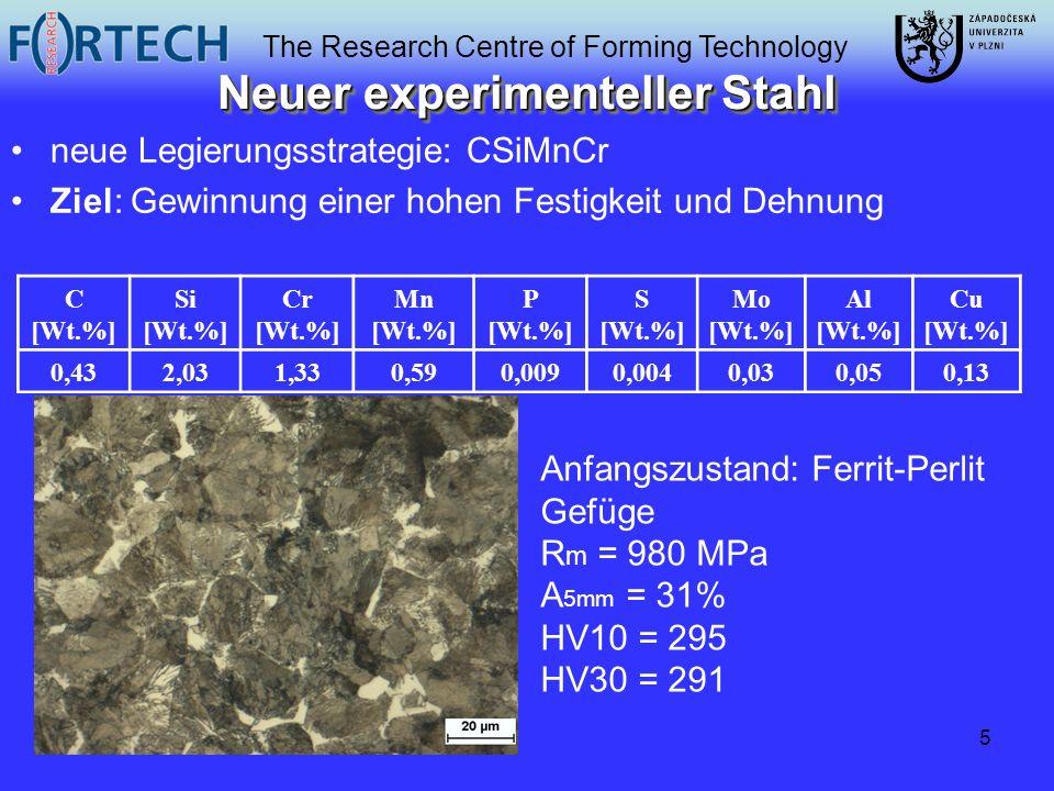The Research Centre of Forming Technology 5 Neuer experimenteller Stahl neue Legierungsstrategie: CSiMnCr Ziel: Gewinnung einer hohen Festigkeit und D