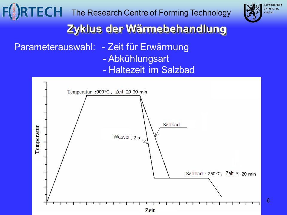 The Research Centre of Forming Technology 6 Zyklus der Wärmebehandlung Parameterauswahl: - Zeit für Erwärmung - Abkühlungsart - Haltezeit im Salzbad
