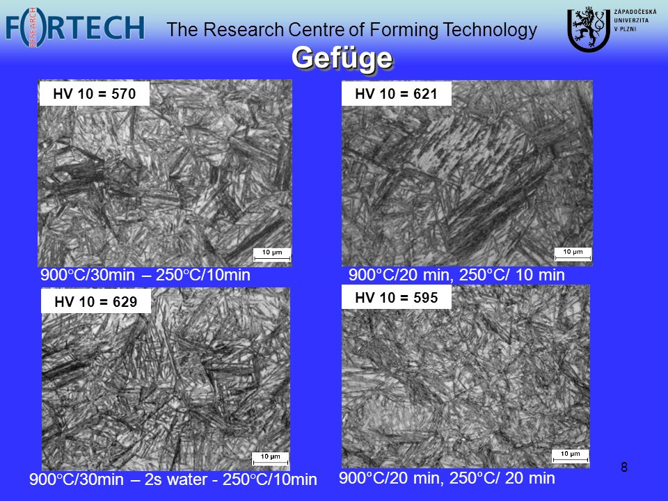 The Research Centre of Forming Technology 8 GefügeGefüge 900°C/20 min, 250°C/ 20 min 900°C/30min – 250°C/10min 900°C/30min – 2s water - 250°C/10min Do