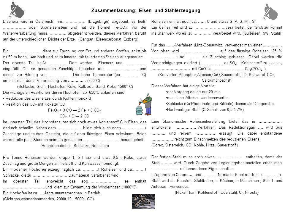 Eisenerz wird in Österreich im……………… (Erzgebirge) abgebaut, es heißt ………………..oder Sparteisenstein und hat die Formel Fe 2 CO 3.