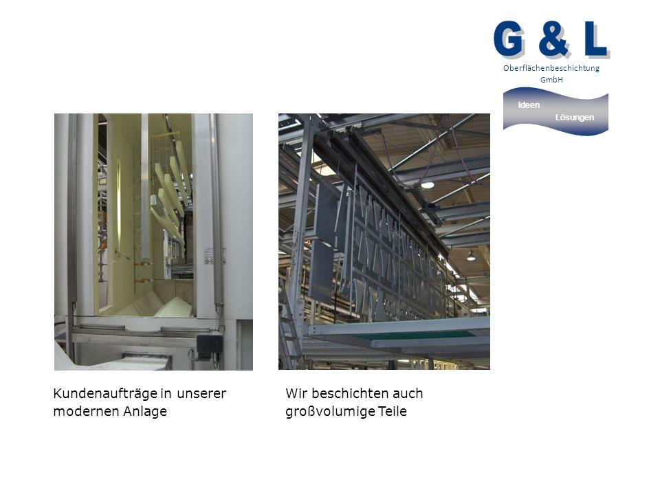 Ideen Lösungen Oberflächenbeschichtung GmbH Kundenaufträge in unserer modernen Anlage Wir beschichten auch großvolumige Teile