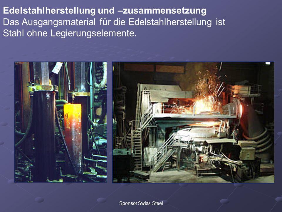 Sponsor Swiss-Steel Edelstahlherstellung und –zusammensetzung Das Ausgangsmaterial für die Edelstahlherstellung ist Stahl ohne Legierungselemente.